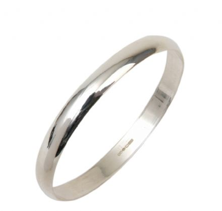 8MM D - Shaped Slave Silver Bangle - Teenage to Adult Sizes
